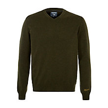Buy Woolrich John Rich & Bros. Mill V-Neck Jumper, Green Online at johnlewis.com