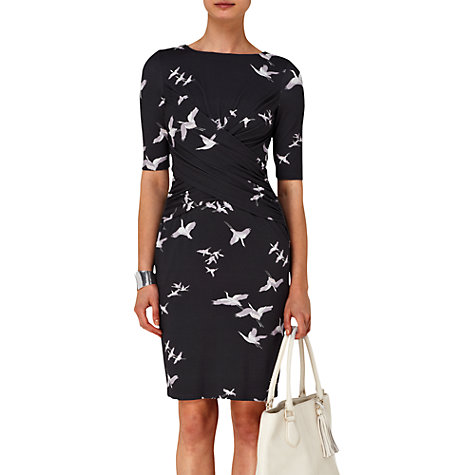 Buy Phase Eight Amity Bird Dress, Black Online at johnlewis.com