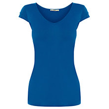 Buy Oasis Double Cap Sleeve T-shirt, Mid Blue Online at johnlewis.com