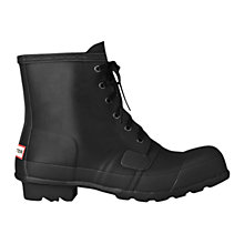 Buy Hunter Men's Rubber Lace Up Boots, Black Online at johnlewis.com