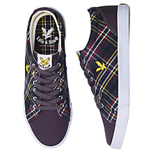 Buy Lyle & Scott Halket Scotts Tartan Plimsolls, Solid Grey Online at johnlewis.com