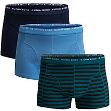 Buy Bjorn Borg Basic Stripe Trunks, Pack of 3, Ocean Blue Online at johnlewis.com