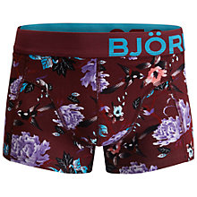 Buy Bjorn Borg Wildlife Print Trunks, Burgundy Online at johnlewis.com