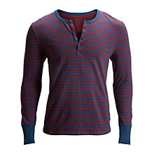 Buy Bjorn Borg Stripe Henley Long Sleeve Top, Blue/Burgundy Online at johnlewis.com