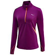 Buy Saucony Run Strong Long Sleeve Running Top, Plum/ViZiPRO Electric Online at johnlewis.com