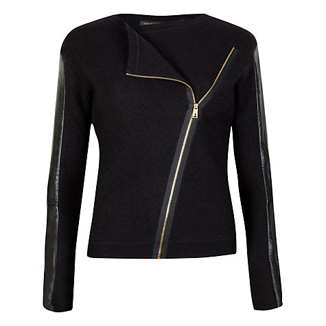 Buy Ted Baker Leather Sleeve Biker Jacket, Black Online at johnlewis.com
