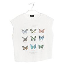Buy Mango Butterfly Linen T-shirt, Natural White Online at johnlewis.com
