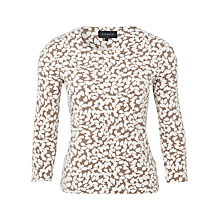 Buy Viyella Leaf Print Jersey Top, Truffle Online at johnlewis.com