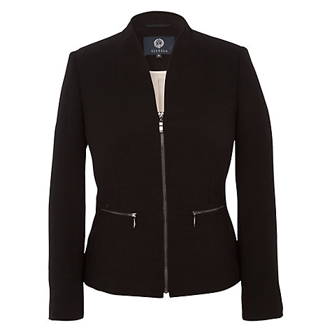 Buy Viyella Zip Detail Crepe Jacket, Black Online at johnlewis.com