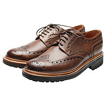Buy Grenson Archie Commando Sole Gibson Brogue Shoes, Dark Brown Online at johnlewis.com