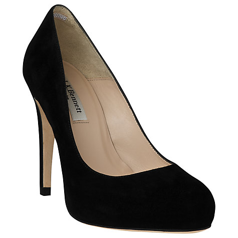 Buy L.K. Bennett Harley Suede Court Shoes, Black Online at johnlewis.com