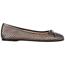 Buy Hobbs Dover Ballerina Leather Pumps, Pewter Online at johnlewis.com