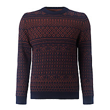 Buy Selected Homme Julias Pattern Crew Neck Jumper, Ensign Blue Online at johnlewis.com