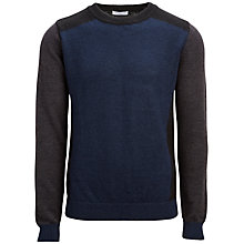Buy Selected Homme Block Colour Crew Neck Jumper, Blue/Black Online at johnlewis.com