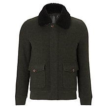 Buy JOHN LEWIS & Co. Shearling Bomber Jacket, Khaki Online at johnlewis.com
