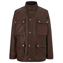 Buy JOHN LEWIS & Co. Leather Jacket with Large Patch Pockets, Brown Online at johnlewis.com