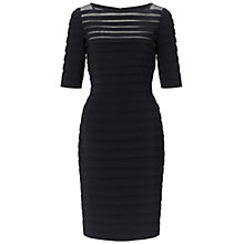 Buy Adrianna Papell Partial Tuck Long Sleeve Dress, Black Online at johnlewis.com