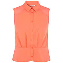 Buy Miss Selfridge Scallop Yoke Blouse, Coral Online at johnlewis.com