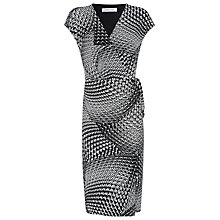 Buy Windsmoor Printed Tie Front Jersey Dress, Black Online at johnlewis.com