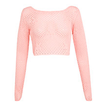 Buy Miss Selfridge Scoop Back Crop Top, Pink Online at johnlewis.com