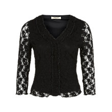Buy Precis Petite Lace Ruffle Top, Black Online at johnlewis.com