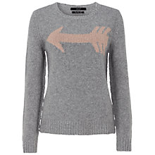 Buy Oui Arrow Knit Jumper, Grey/Rose Online at johnlewis.com