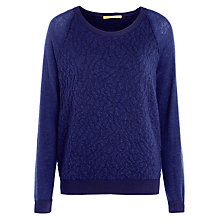 Buy BOSS Orange Textured Jumper, Navy Online at johnlewis.com