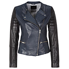 Buy Oui Leather Biker Jacket, Navy Online at johnlewis.com