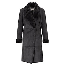 Buy Sandwich Faux Long Shearling Coat, Charcoal Online at johnlewis.com