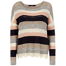 Buy Oui Stripe Knit with Lace Trim, Grey/Rose Online at johnlewis.com