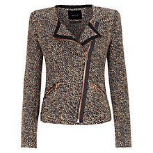 Buy Oui Contrast Zip Biker Jacket, Bronze Online at johnlewis.com