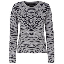 Buy Oui Eagle Intarsia Knit Jumper, Grey/Blue Online at johnlewis.com