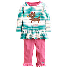 Buy Baby Joule Cat & Stripe Top & Legging, Blue/Pink Online at johnlewis.com