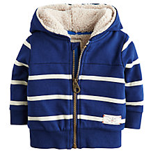 Buy Baby Joule Guthrie Borg Stripe Zip Jumper, Navy/White Online at johnlewis.com