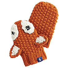 Buy Baby Joule Knitted Foxley Mittens, Orange/White Online at johnlewis.com