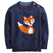 Buy Little Joule Knitted Foxley Jumper, Navy Online at johnlewis.com