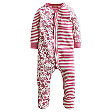 Buy Baby Joule Stripe Print Floral Sleepsuit, Pink Online at johnlewis.com
