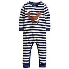 Buy Baby Joule Fife Stripe Fox Sleepsuit, Navy/White Online at johnlewis.com