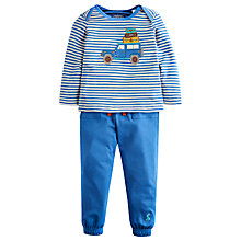 Buy Little Joule Boys' Byron Car Stripe Outfit, Blue/White Online at johnlewis.com