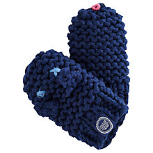 Buy Baby Joule Knitted Snap Mittens, Navy Online at johnlewis.com