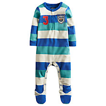 Buy Baby Joule Stripe Hobart Sleepsuit, Green/Blue Online at johnlewis.com
