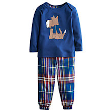 Buy Scottie Dog Top & Tartan Trouser Set, Blue/Multi Online at johnlewis.com