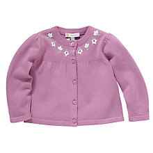 Buy John Lewis Floral Knit Embroidered Cardigan, Purple Online at johnlewis.com
