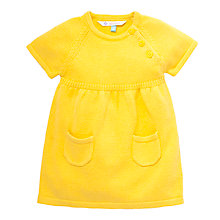 Buy John Lewis Knit Button Dress, Yellow Online at johnlewis.com