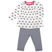 Buy John Lewis Bird Print Top & Leggings, Navy/Cream Online at johnlewis.com