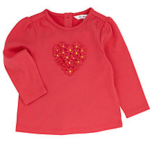 Buy John Lewis 3D Flower Applique Long Sleeve T-Shirt, Red Online at johnlewis.com