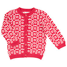 Buy John Lewis Crown Pattern Intarsia Knit Cardigan, Red/White Online at johnlewis.com