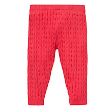 Buy John Lewis Cable Knit Leggings, Red Online at johnlewis.com