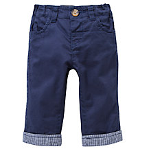 Buy John Lewis Twill Gingham Hem Trousers, Navy Online at johnlewis.com