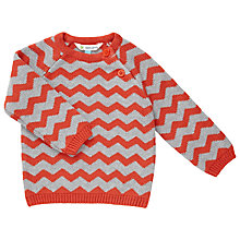 Buy John Lewis Chevron Jumper, Orange/Grey Online at johnlewis.com